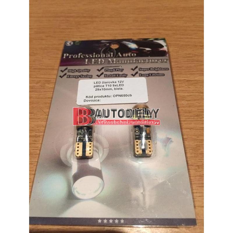 LED žiarovky 2ks, pätica T10 biele 9xLED 3030