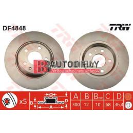 AUDI A5 6/07- Zadné kotúče, Sada /výrobca TRW/ - 300mm
