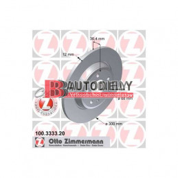 AUDI A5 6/07-2011- Zadné kotúče, Sada /výrobca ZIMMERMANN/- 300mm